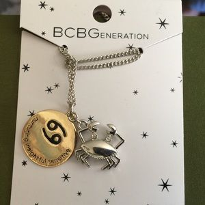 Cancer Gold & Silver Zodiac Pendant Necklace